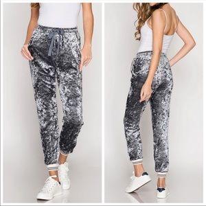 Gray Velvet Joggers Pants